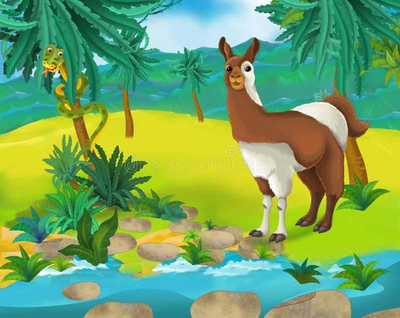 Beeldverhaalscène - de wilde dieren van Afrika - lama vector illustratie