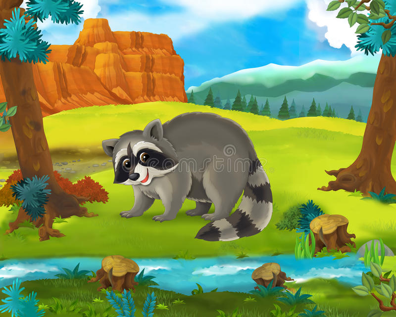 Beeldverhaalscène - de wilde dieren van Afrika - wasbeer vector illustratie
