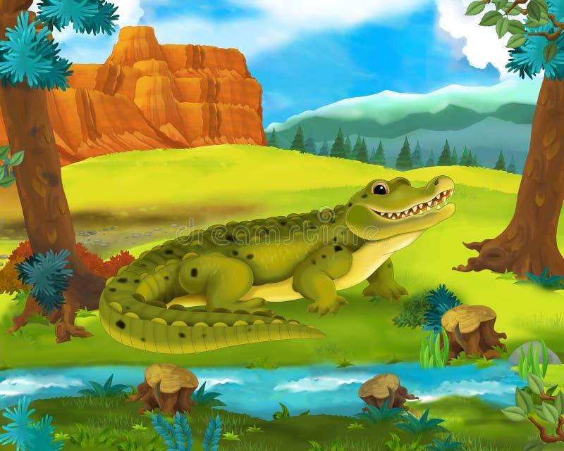 Beeldverhaalscène - de wilde dieren van Amerika - alligator royalty-vrije illustratie
