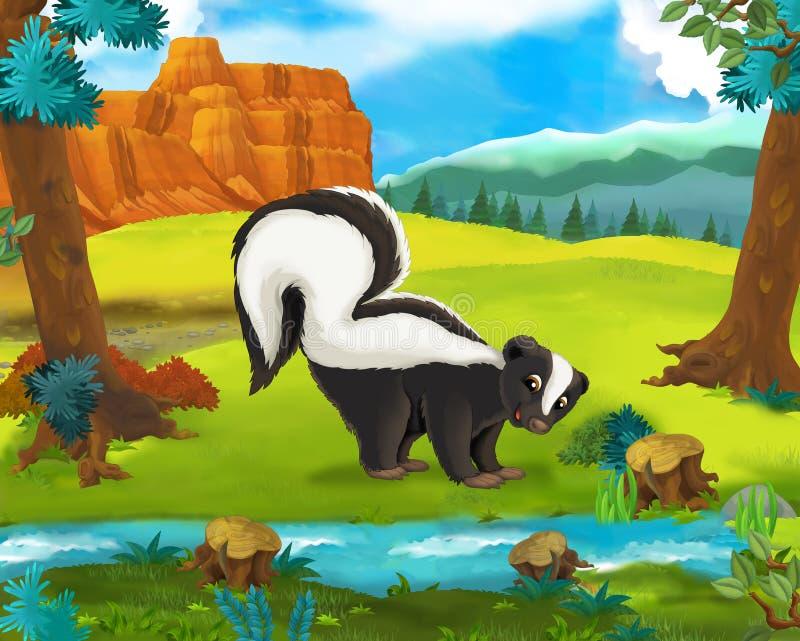 Beeldverhaalscène - de wilde dieren van Amerika - stinkdier royalty-vrije illustratie