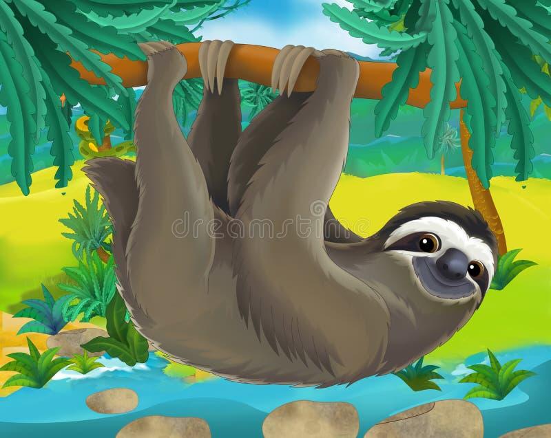 Beeldverhaalscène - de wilde dieren van Zuid-Amerika - luiaard royalty-vrije illustratie