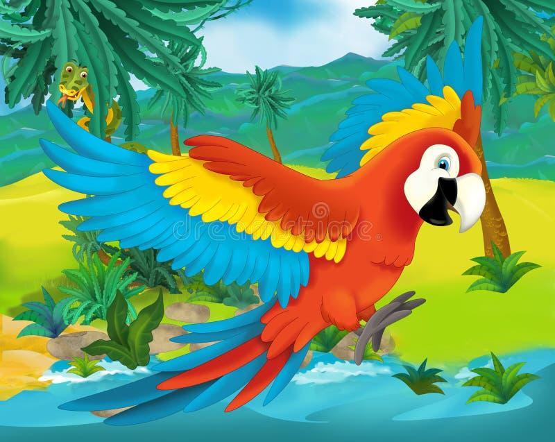 Beeldverhaalscène - de wilde dieren van Zuid-Amerika - papegaai royalty-vrije illustratie