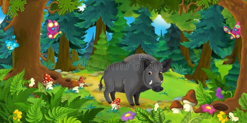 Beeldverhaalscène die met gelukkig everzwijn zich in het bos bevinden vector illustratie