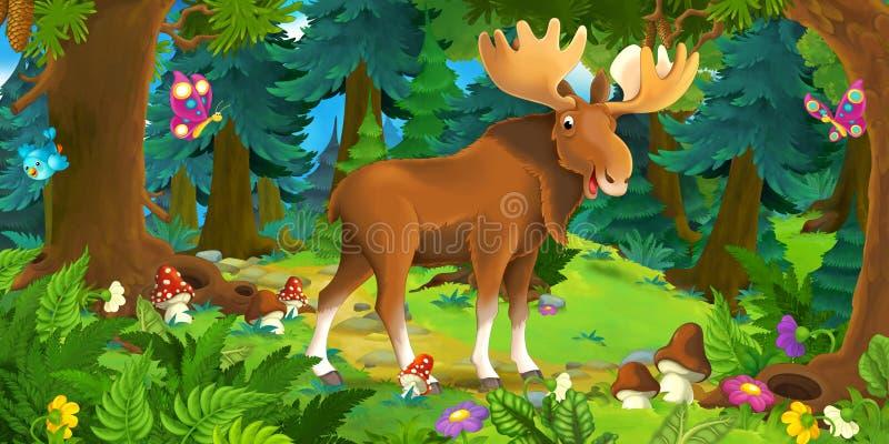 Beeldverhaalscène die met gelukkige Amerikaanse elanden zich in het bos bevinden royalty-vrije illustratie