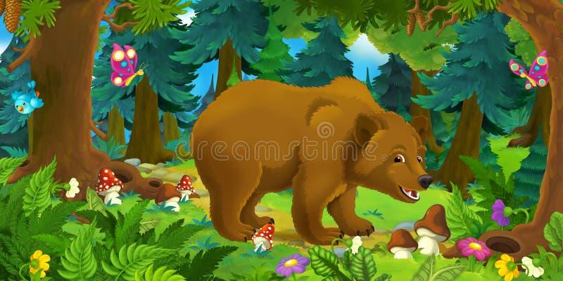 Beeldverhaalscène die met gelukkige beer zich in het bos bevinden royalty-vrije illustratie