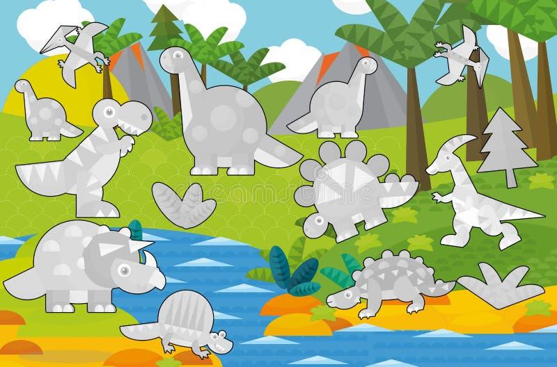 Beeldverhaalscène - dinosaurusland - grijze dinosaurussen - illustratie voor kinderen vector illustratie