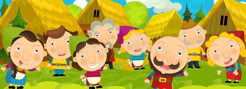 Beeldverhaalscène in het oude dorp - gelukkige dorpsbewoners totaal - achtergrond voor verschillend gebruik - voor spel of boek stock illustratie