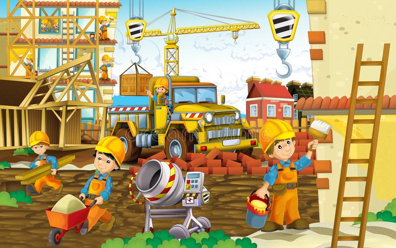 Beeldverhaalscène met arbeiders op bouwwerf - bouwers die verschillende dingen doen royalty-vrije illustratie