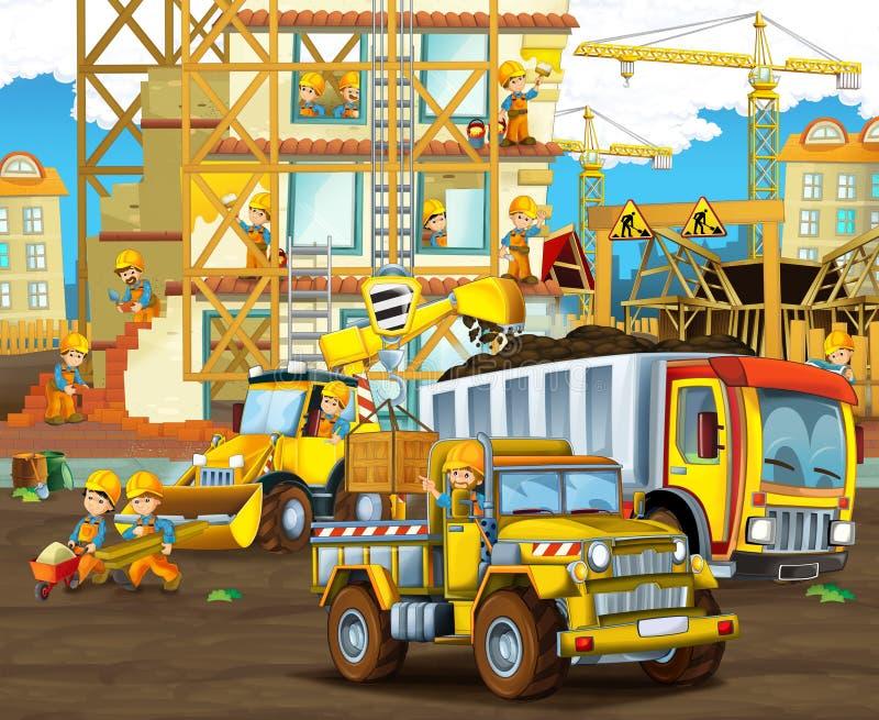 Beeldverhaalscène met arbeiders op bouwwerf - bouwers die verschillende dingen doen stock illustratie
