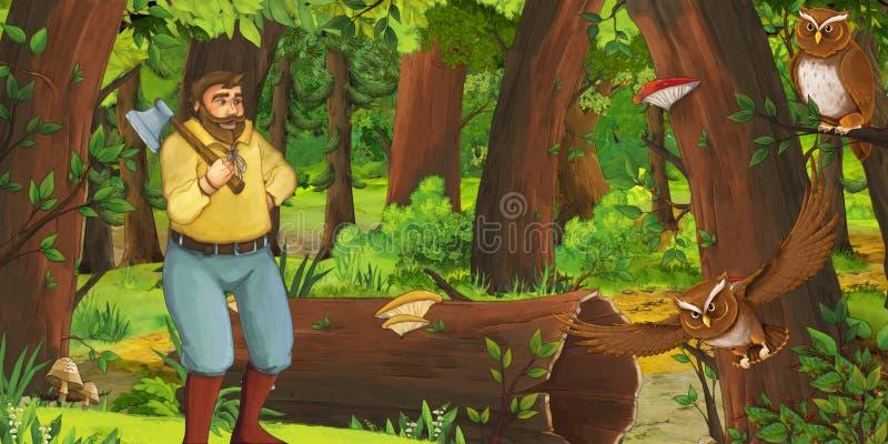 Beeldverhaalscène met de de gelukkige prins of landbouwer van het jonge mensenkind in het bos het ontmoeten paar van uilen het vl royalty-vrije illustratie