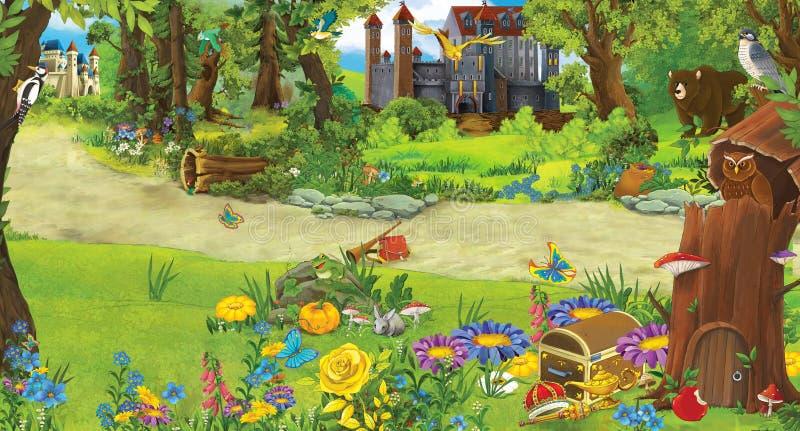Beeldverhaalscène met een kasteel en een boomhuis in het bos - stadium voor verschillend gebruik - voor sprookjes - boek of spel royalty-vrije illustratie