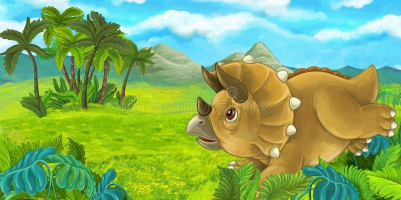 Beeldverhaalscène met gelukkige en triceratops die bevinden zich eruit zien stock illustratie