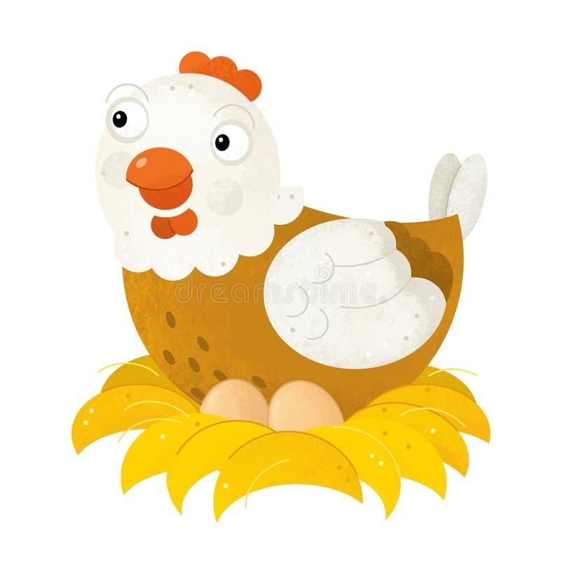 Beeldverhaalscène met kippenkip op witte achtergrond vector illustratie