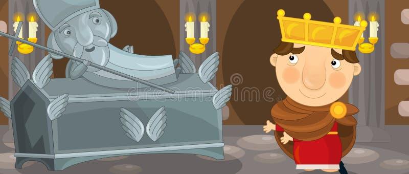 Beeldverhaalscène met ridder of koning in kasteelkamer vector illustratie