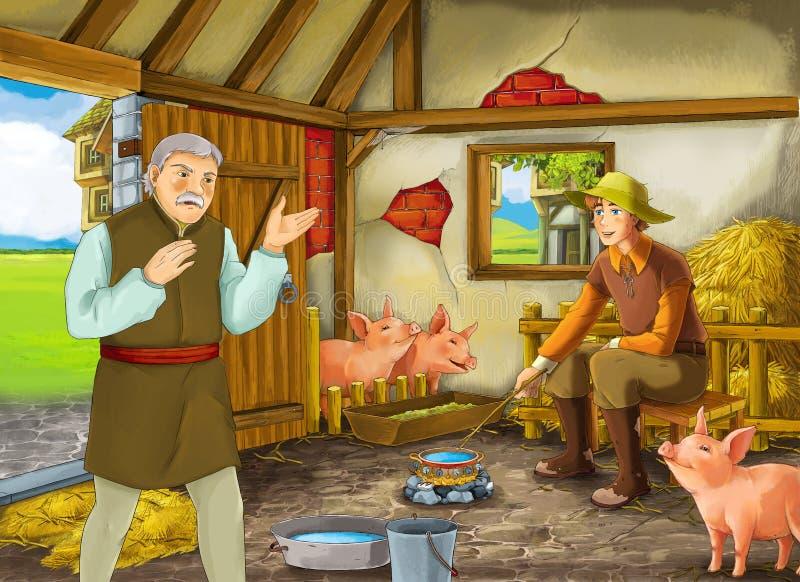 Beeldverhaalscène met twee landbouwerseigenaren van een ranch of vermomde prins en oudere landbouwer in de schuurvarkensstal vector illustratie