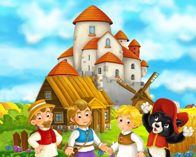 Beeldverhaalscène met wat middeleeuwse landbouwers en katten status sprekend en glimlachend mooi kasteel in de achtergrondillustr