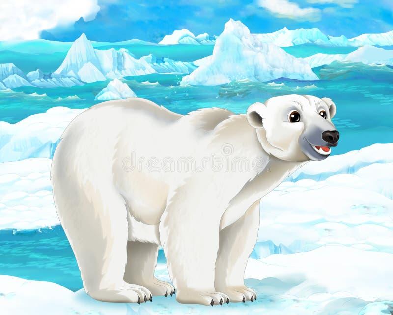 Beeldverhaalscène - noordpooldieren - ijsbeer stock illustratie