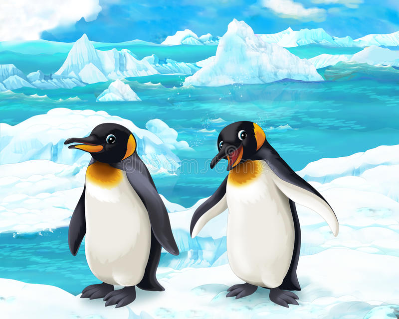 Beeldverhaalscène - noordpooldieren - pinguïnen vector illustratie