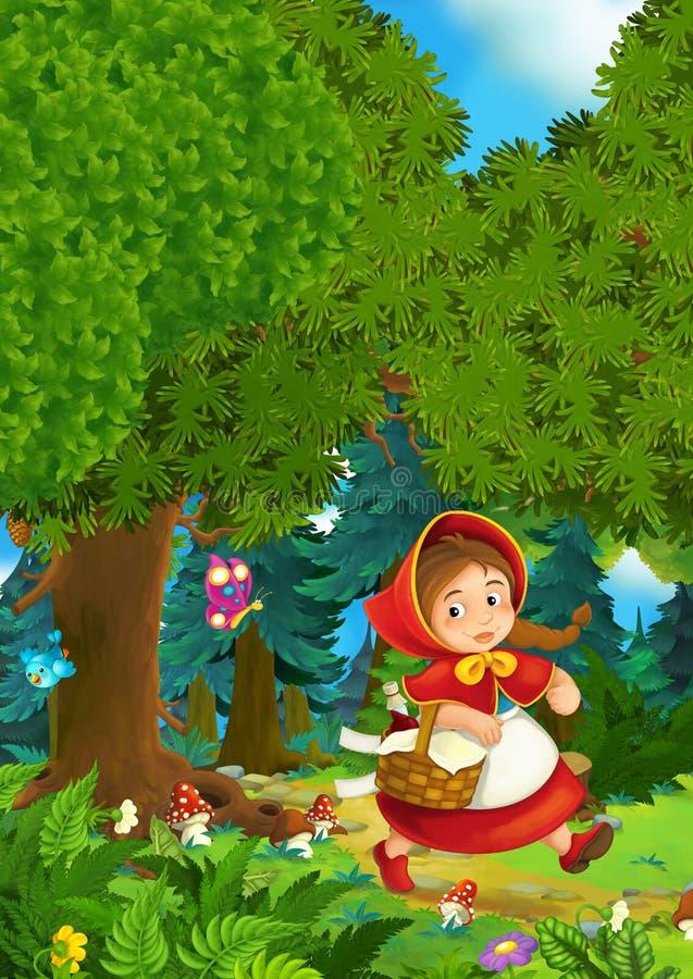 Beeldverhaalscène op een gelukkig meisje binnen kleurrijk bos stock illustratie