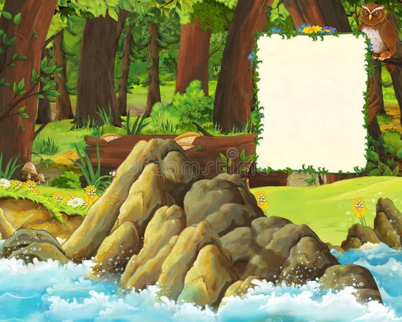 Beeldverhaalscène van bos en de weide met uilen en kust van overzees - titelpagina met ruimte voor tekst royalty-vrije illustratie