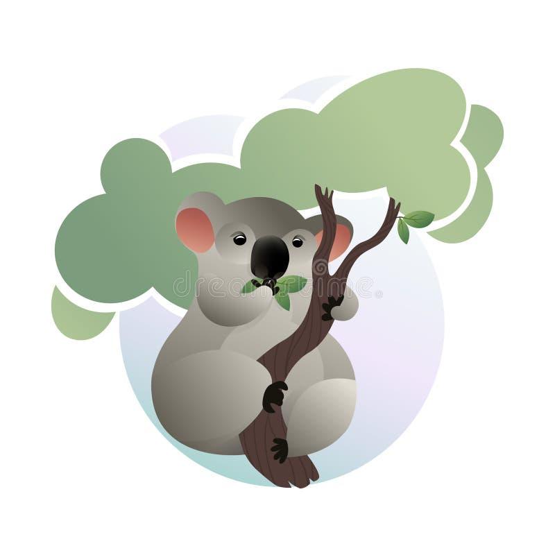 Beeldverhaalscène van leuke koala die groene bladeren op boom eten stock illustratie