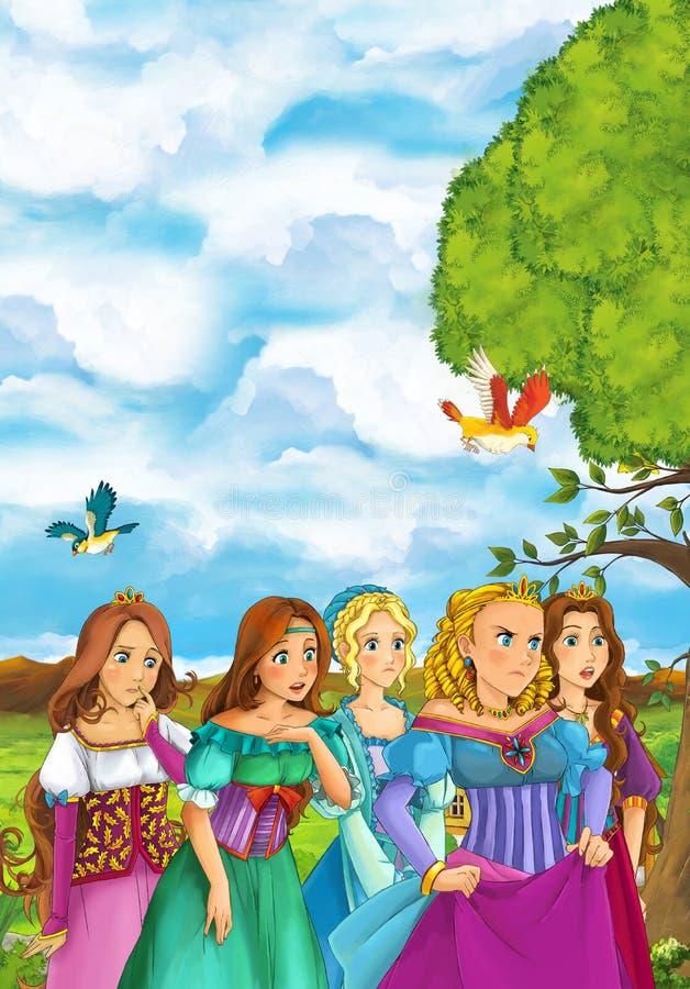 Beeldverhaalscène van vele jonge meisjes in traditionele kleding - middeleeuwse tijden - mooie mangameisjes - gelukkige scène vector illustratie