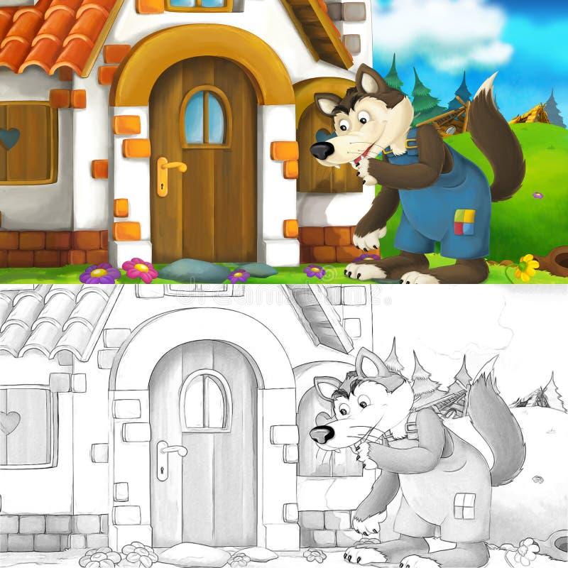 Beeldverhaalscène van wolf status vermoeid voor het baksteenhuis - met het kleuren van pagina vector illustratie