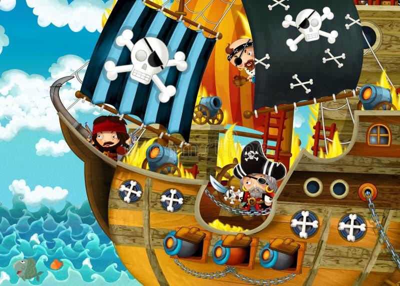 Beeldverhaalsc?ne met piraatschip die door het overzees met enge piraten varen - het dek brandt tijdens slag vector illustratie