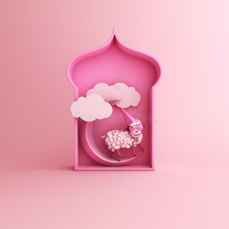 Beeldverhaalschapen, Arabisch venster, wolk, toenemende maan op roze pastelkleur achtergrondexemplaar ruimteteksten royalty-vrije illustratie