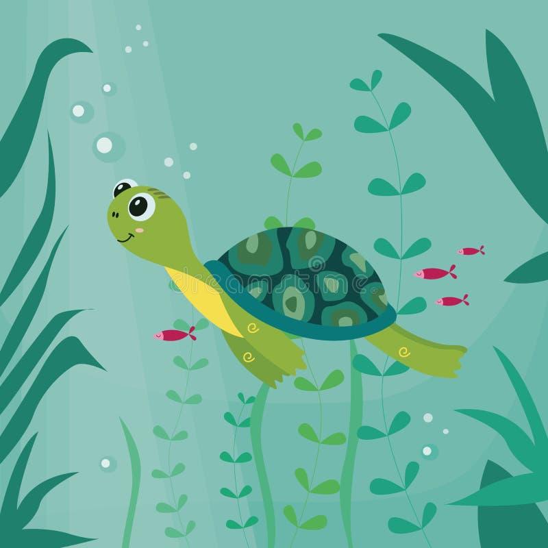 Beeldverhaalschildpad die de vectorillustratie op de onderwaterachtergrond zwemmen vector illustratie