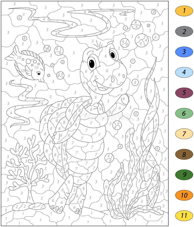Beeldverhaalschildpad en vissen in de oceaan Kleur door aantaleducationa royalty-vrije illustratie