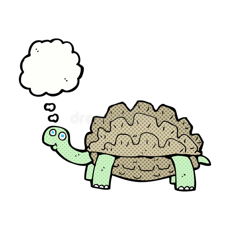 beeldverhaalschildpad met gedachte bel stock illustratie