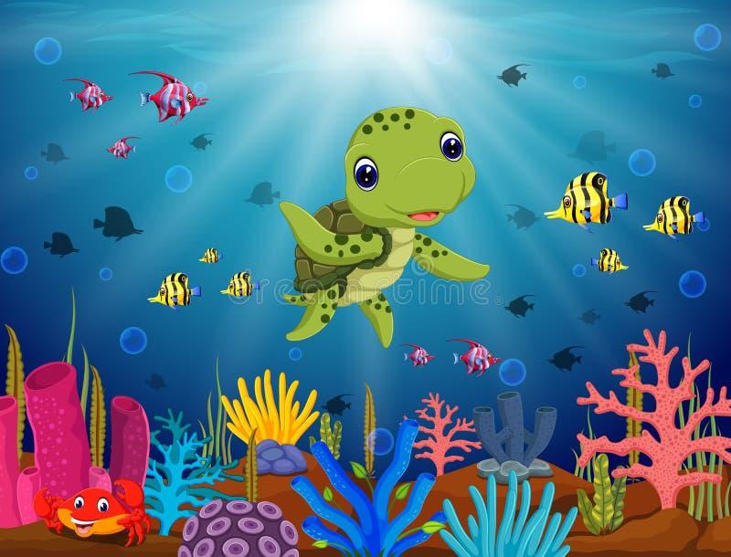 Beeldverhaalschildpad onderwater royalty-vrije illustratie