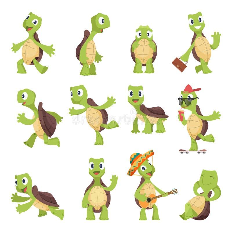 Beeldverhaalschildpadden Gelukkige grappige dieren die schildpad vectorinzameling in werking stellen royalty-vrije illustratie