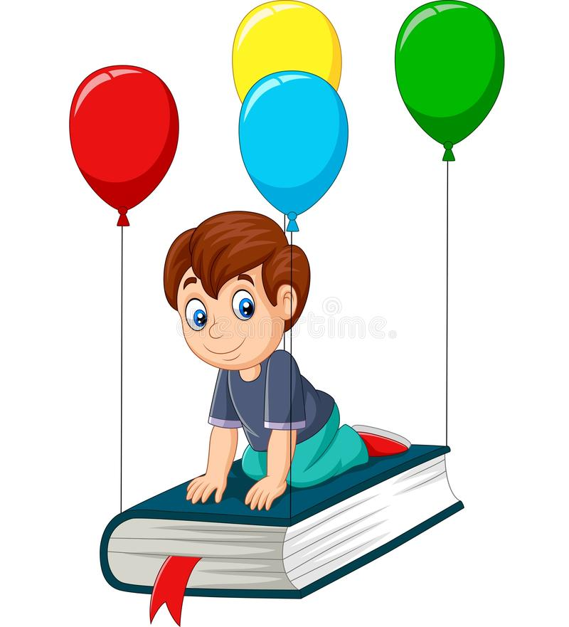 Beeldverhaalschooljongen die op een boek vliegt stock illustratie