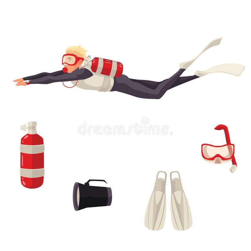 Beeldverhaalscuba-duiker en duikuitrusting vector illustratie