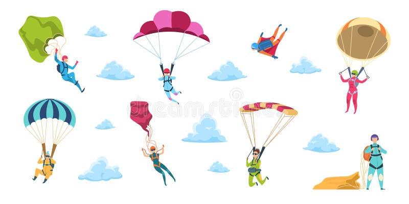 Beeldverhaalskydivers Hemelsprong met valscherm en glijscherm, het extreme gevaar skydive vallen Het vectoradrenaline parachutere stock illustratie
