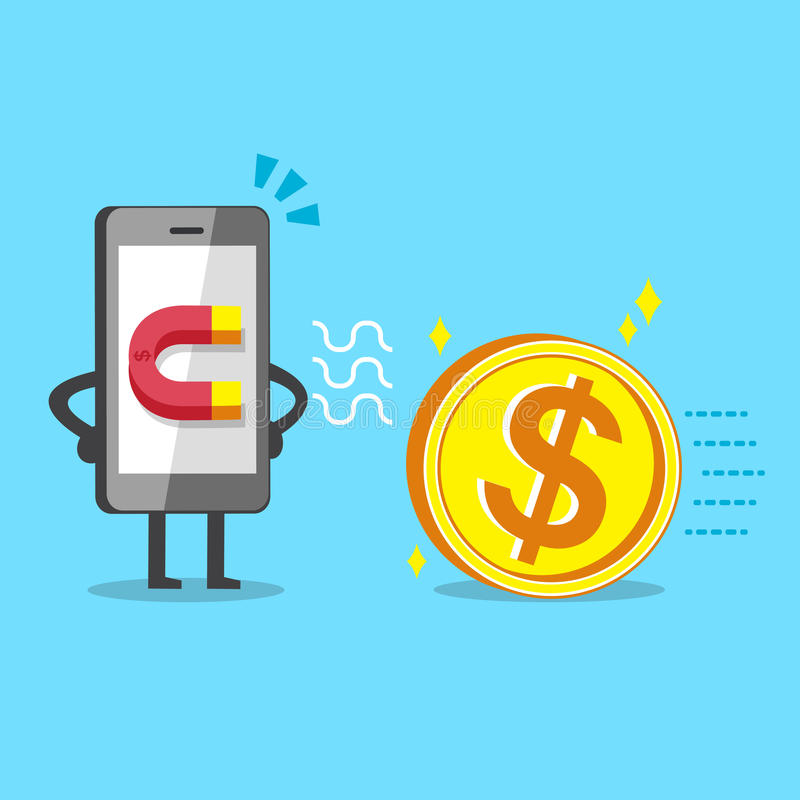 Beeldverhaalsmartphone die magneetpictogram gebruiken trekt groot geldmuntstuk aan royalty-vrije illustratie