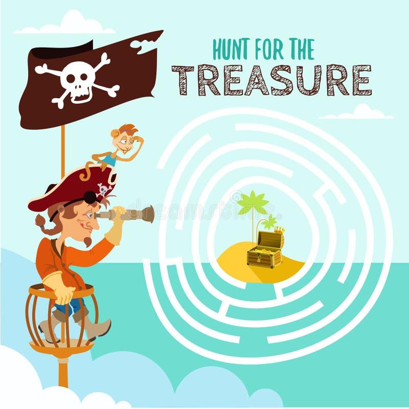 Beeldverhaalspel over piraat en zijn schat vector illustratie