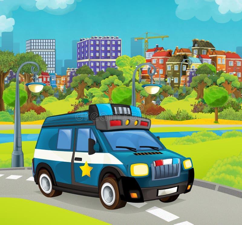 Beeldverhaalstadium met politievoertuig het glimlachen vrachtwagen kleurrijke en vrolijke scène royalty-vrije illustratie