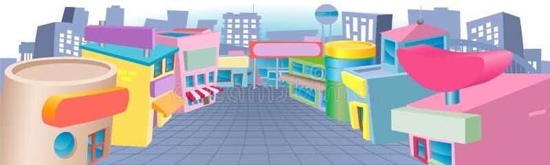 Beeldverhaalstraat van winkels stock illustratie