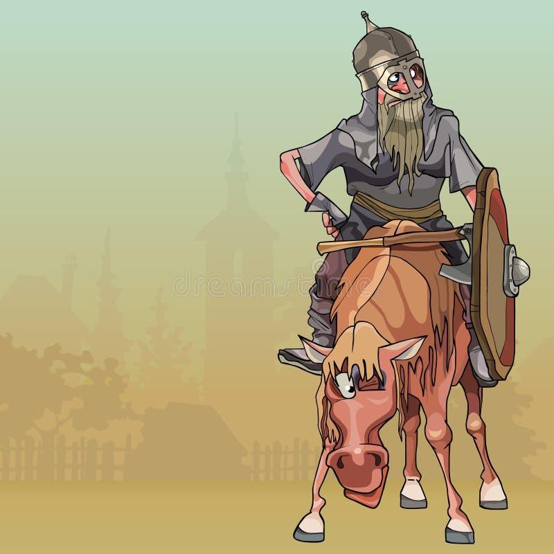 Beeldverhaalstrijder in pantser op horseback in het dorp stock illustratie