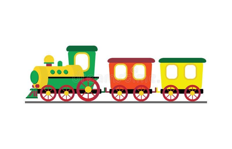 Beeldverhaalstuk speelgoed trein met kleurrijke die blokken op witte backgro worden geïsoleerd vector illustratie