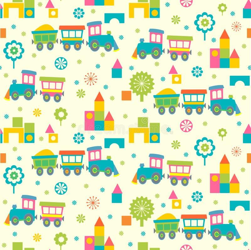 Beeldverhaalstuk speelgoed treinen en bakstenen vector illustratie