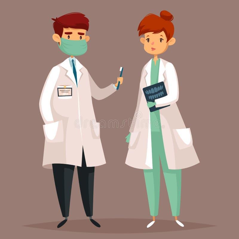 Beeldverhaaltandarts en vrouw met tandröntgenstraal stock illustratie