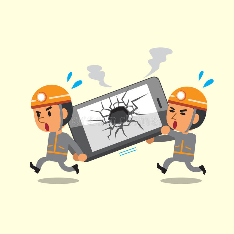 Beeldverhaaltechnici die gebroken smartphone helpen stock illustratie