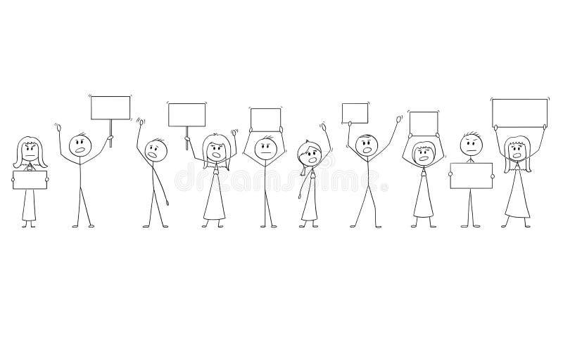 Beeldverhaaltekening van Groep Mensen die met Lege Tekens protesteren royalty-vrije illustratie