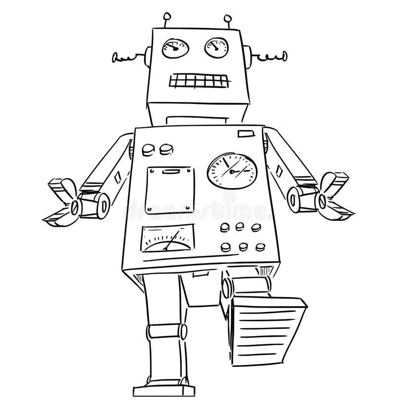Beeldverhaaltekening van het Grote of Reuze Retro Robot Lopen vector illustratie