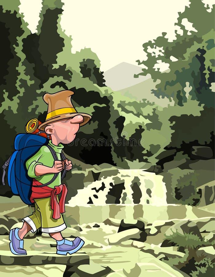 Beeldverhaaltoerist met een rugzak die door het bos lopen stock illustratie