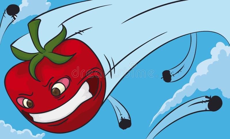 Beeldverhaaltomaat bij volledige snelheid in een Tomatenslag wordt geworpen, Vectorillustratie die stock illustratie